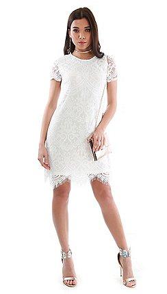 Be Jealous Off White Scallop Hem Lace Dress