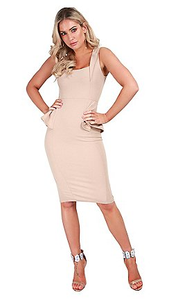 661c7572f725 Be Jealous - Natural lace peplum midi bodycon dress