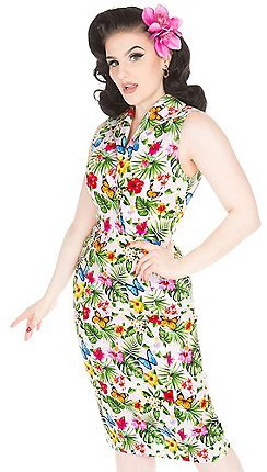 3f58d6f6b02d Lady Vintage - Light pink summer floral annie fitted dress