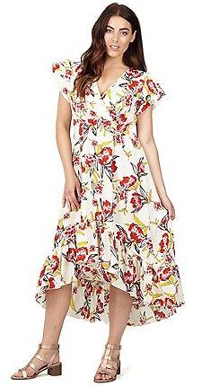 7545463e2f841 Izabel London - Red floral print wrap top midi dress