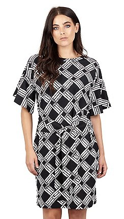 af2e2eec04f68 Izabel London - Black tie front check ruffle sleeve dress