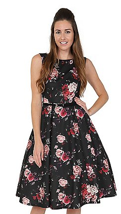 Lady Vintage Black Baroque Roses Hepburn Dress
