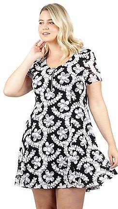 f5372a70923 Izabel London Curve - Black zip front printed skater dress