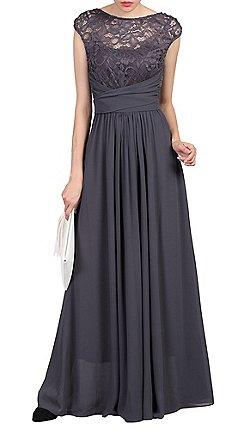 Jolie Moi Dark Grey Lace Bodice Maxi Prom Dress