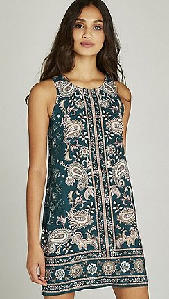 011d3803b5dd Apricot - Green paisley placement print shift dress