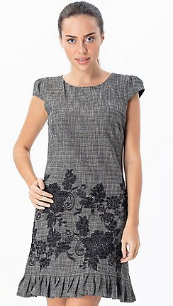 e467f50dd66910 Explosion London - Grey ruffled embroidered short sleeves dress