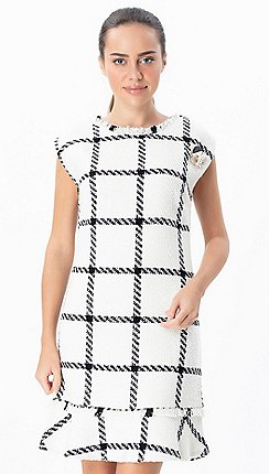 fd824b215a5 Explosion London - White ruffled hem checkered sleeveless dress