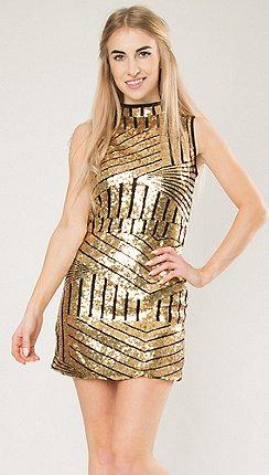 Blue Vanilla Gold High Neck Sequin Mini Dress