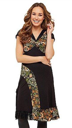 2863960bed1 Joe Browns - Multicoloured floral jersey  Lovely Mix  V-neck knee length  dress