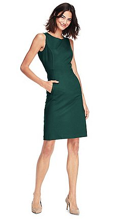 e2a84e1d898 Lands  End - Green womens sleeveless ponte dress