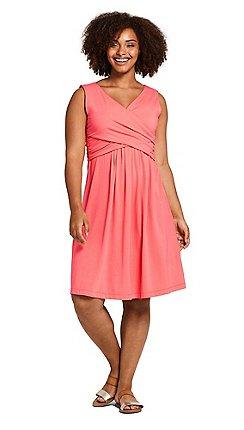 15649d37f78 Lands  End - Orange Womens Plus Plain Sleeveless Fit and Flare Dress