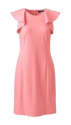 b4fc15c48af Lands  End - Pink women s shift dress with shoulder ruffles