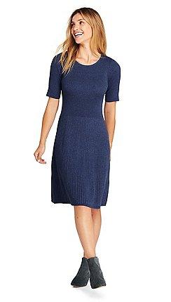 Lands  End - Blue womens supima cotton rib sweater dress 449556579