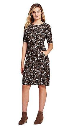 f9052c81d7c Lands  End - Brown shift dress in patterned ponte jersey