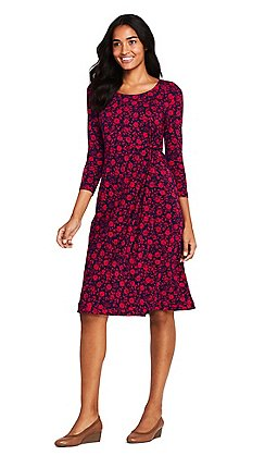 Lands  End - Red knotted wrap jersey print dress f1dc2b275a