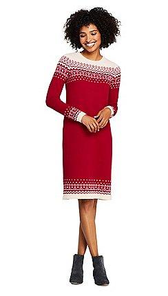 fbf71260518 Lands  End - Grey petite fair isle sweater dress