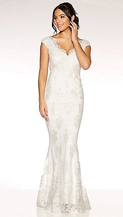 Quiz Clara White Lace Fishtail Bridal Dress