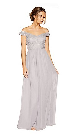 Quiz Grey Chiffon Embroidered Bardot Maxi Dresses