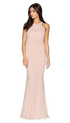 Quiz And Pink Chiffon Sweetheart Neck Maxi Dress