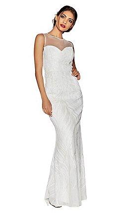 Quiz Ava White Sequin Embellished Fishtail Bridal Dress