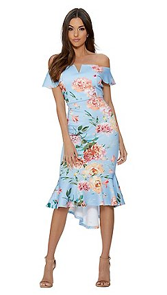 Quiz Blue And Pink Fl Dip Hem Dress