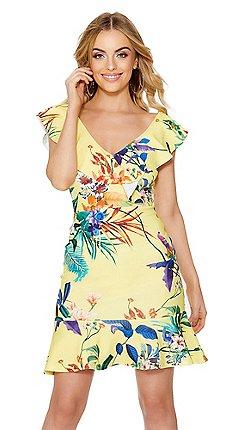 Yellow dresses debenhams quiz yellow floral print frill dress mightylinksfo