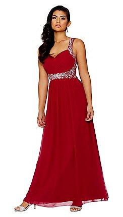 56ca4bc44290 Quiz - Raspberry chiffon embellished maxi dress