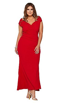 Quiz Curve Red Bardot Wrap Maxi Dress