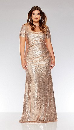 Quiz Curve Rose Gold Sequin Maxi Dress
