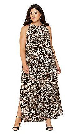 Quiz - Curve black crepe leopard print maxi dress 5df654e2f