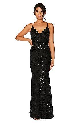 dccc808872 Quiz - Black Sequin V Neck Maxi Dress