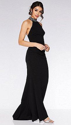 d44da63a832 Quiz - Black Embellished Back Fishtail Maxi Dress