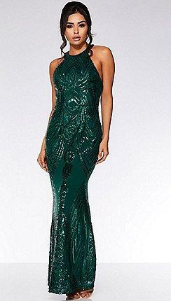 57c58d88 Quiz - Olivia's bottle green sequin high neck fishtail maxi dress