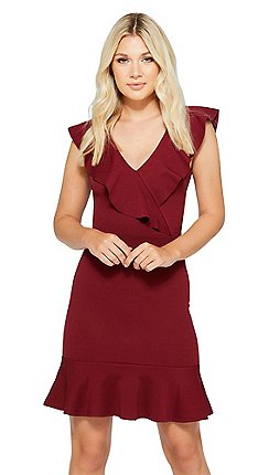 Quiz Berry Frill V Neck Dress