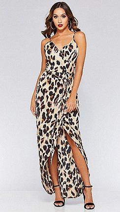 Quiz - Leopard print wrap maxi dress 74bbebd88