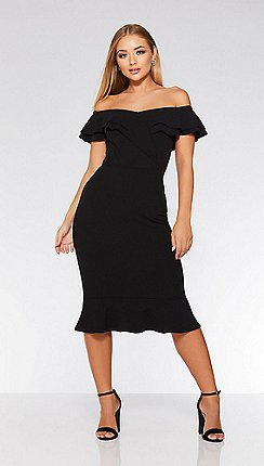 Quiz - Black bardot double frill flare dress b83b19d5d