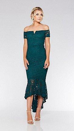 quiz bottle green lace dip hem maxi dress