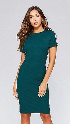 41a3a04dbdd8 Quiz - Bottle green stripe bodycon dress