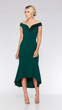 Quiz Bottle Green Bardot Dip Hem Dress