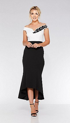 337b5b3702 Quiz - Black and cream bardot dip hem dress