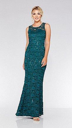 8c819d82d5e376 Quiz - Bottle green lace sequin fishtail maxi dress