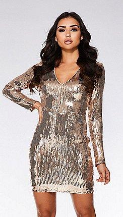 Quiz - Rose gold sequin bodycon dress 81e3094f2c