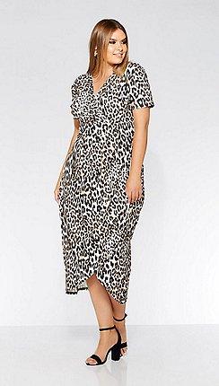 Quiz - Curve leopard print wrap dress 25b23c69b