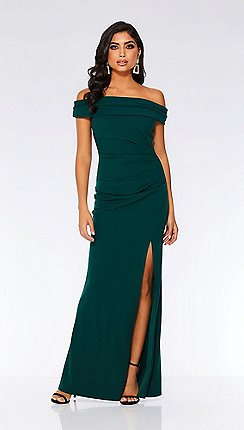 Quiz Bottle Green Bardot Ruched Fishtail Maxi Dress
