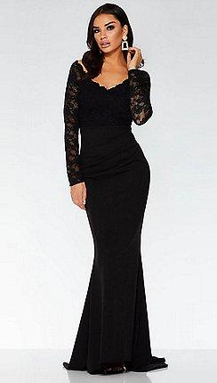 Quiz Black Lace Long Sleeve Fishtail Maxi Dress