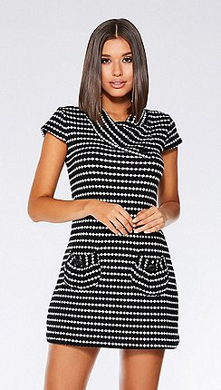 Quiz - Black and cream cap sleeves knit tunic dress