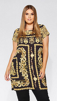 Quiz - Curve black and gold print tunic dress 3574dee2f