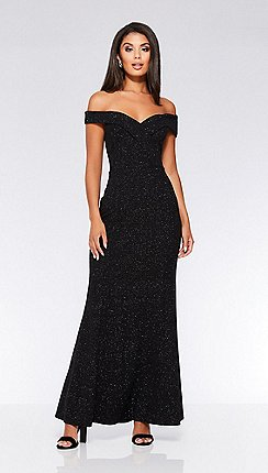 Quiz - Black glitter Bardot maxi dress d3c9197130b9