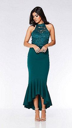 Quiz Bottle Green Sequin Lace Turtle Neck Maxi Dress