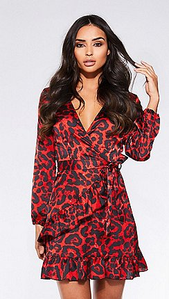 0572936bb6 Quiz - Towie red and black satin leopard print wrap dress
